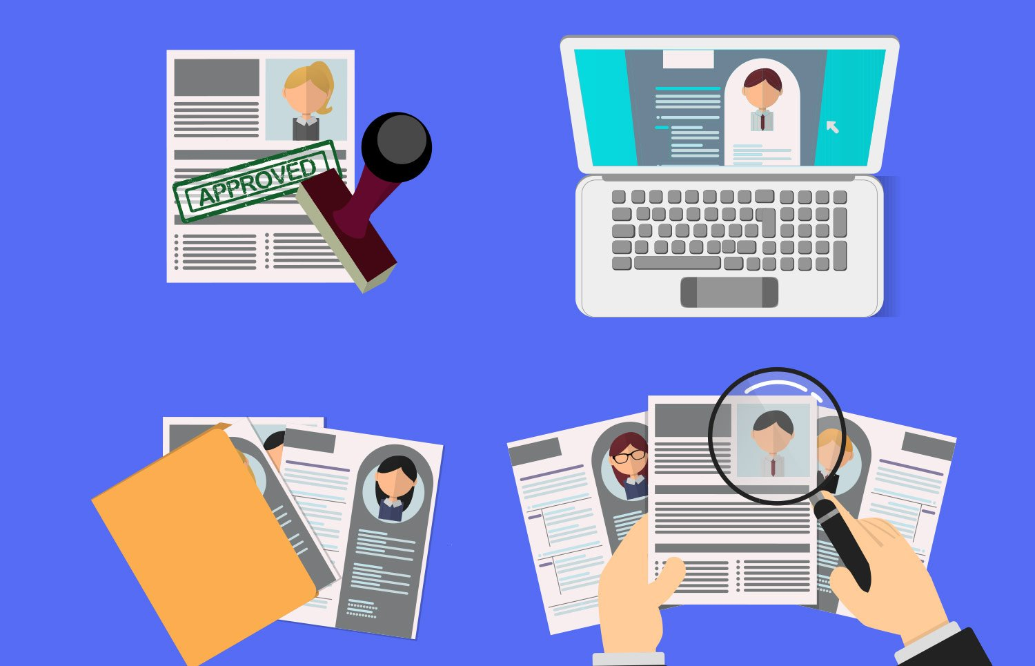 Vector illustration of person inspecting resumes