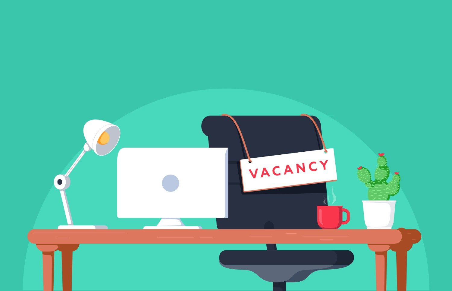 """Vector-style image of an office desk with a sign that reads """"vacancy"""""""